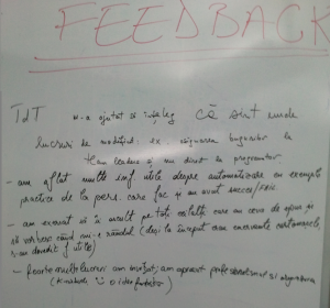 Feedback TdT Peer Conference Iasi